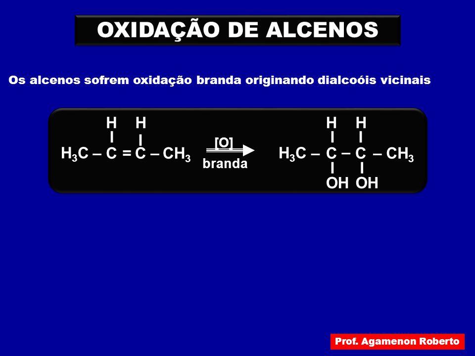 OXIDAÇÃO DE ALCENOS H3C – C I CH3 OH H = [O] branda